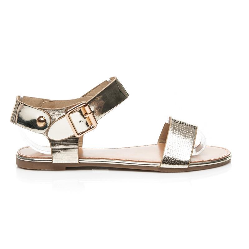 99ad3f8a4021 Krásne zlaté sandálky s zapínaním na voliteľný opasok - Dámske ...