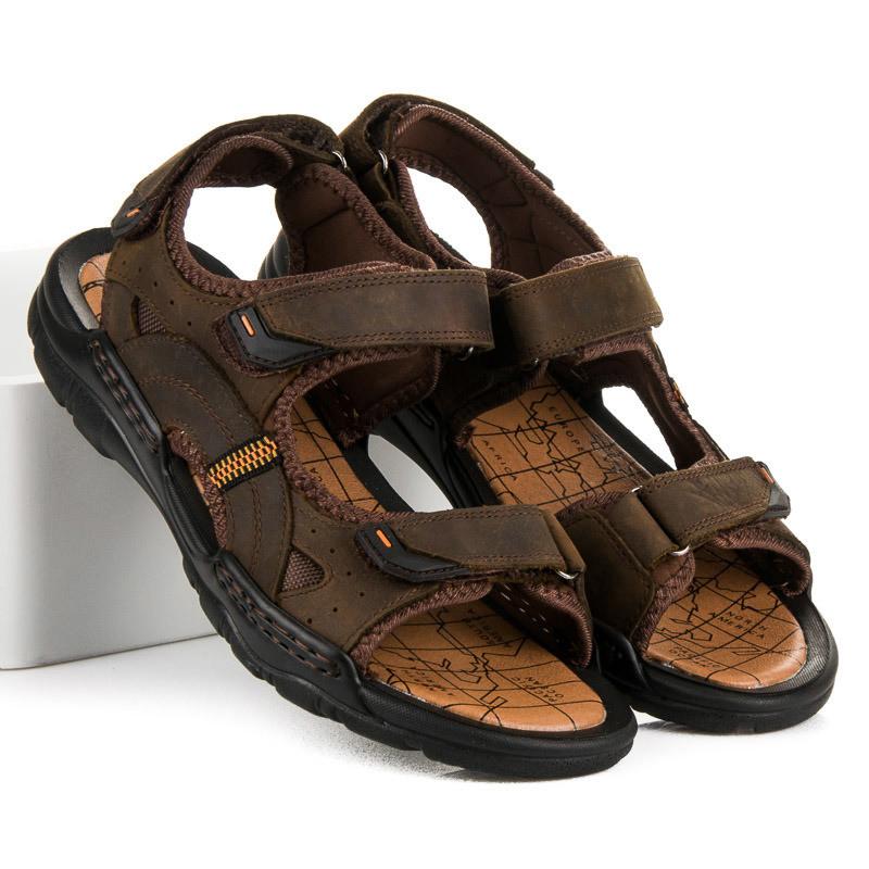 c9c356165c95 Kvalitné hnedé kožené pánske sandále - Pánske sandále - Locca.sk