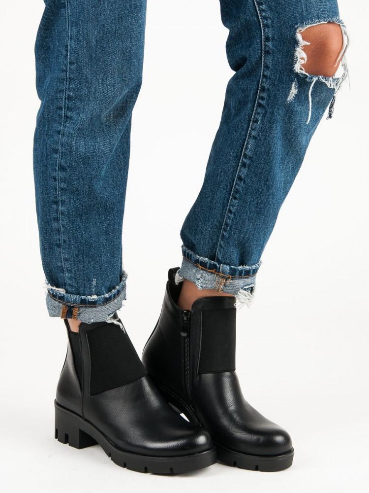 5db3c6e749 Luxusné čierne členkové topánky na podpätku - Dámske topánky - Locca.sk