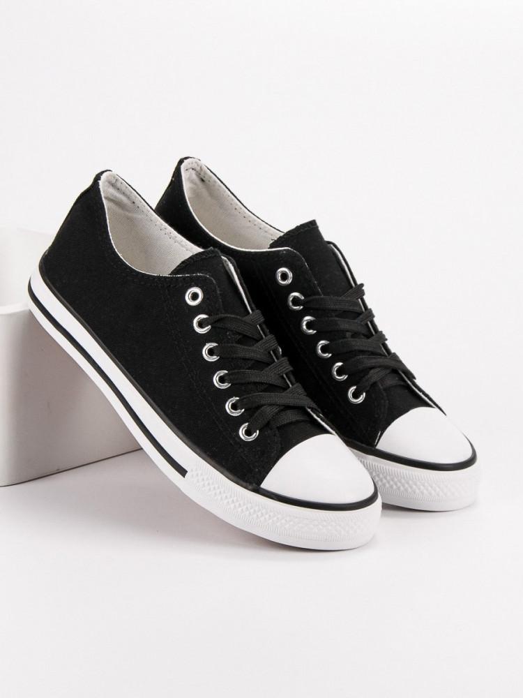 6ccc38a9e8a5 Luxusné čierne dámske tenisky bez podpätku - Dámske členkové tenisky ...