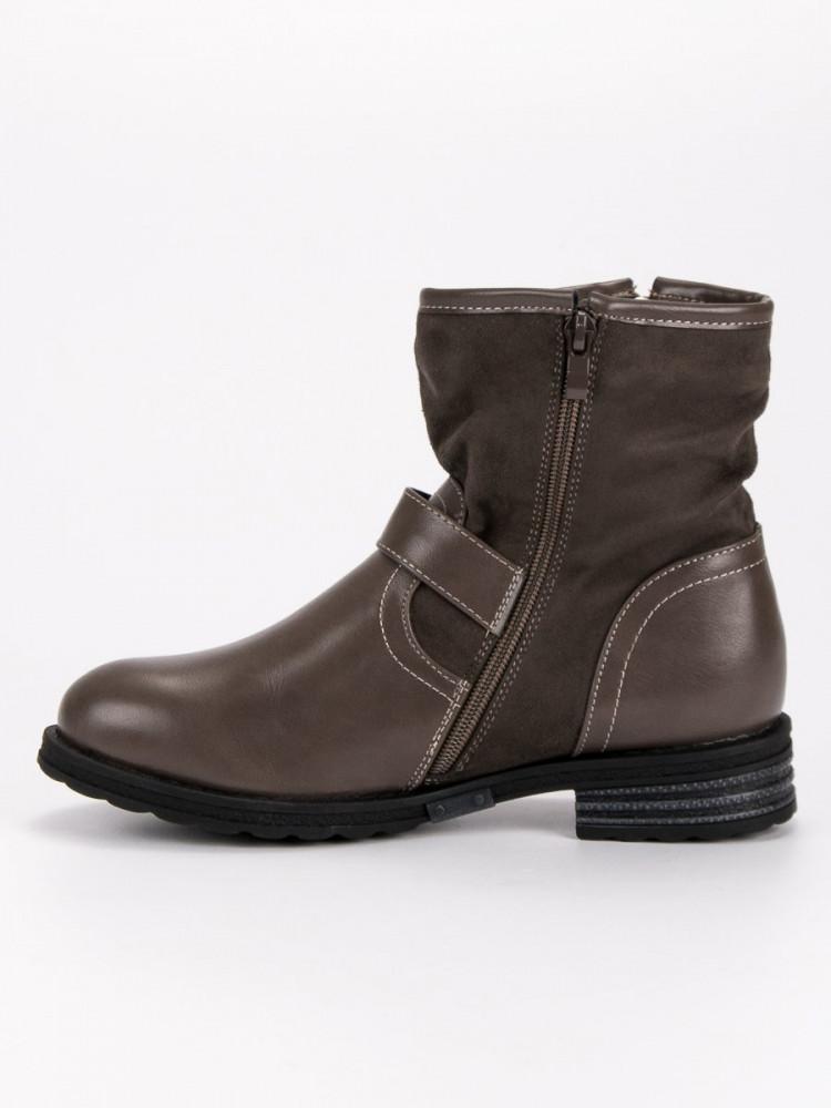 e5501c0eb5 Luxusné dámske hnedé Členkové topánky na plochom podpätku - Dámske ...