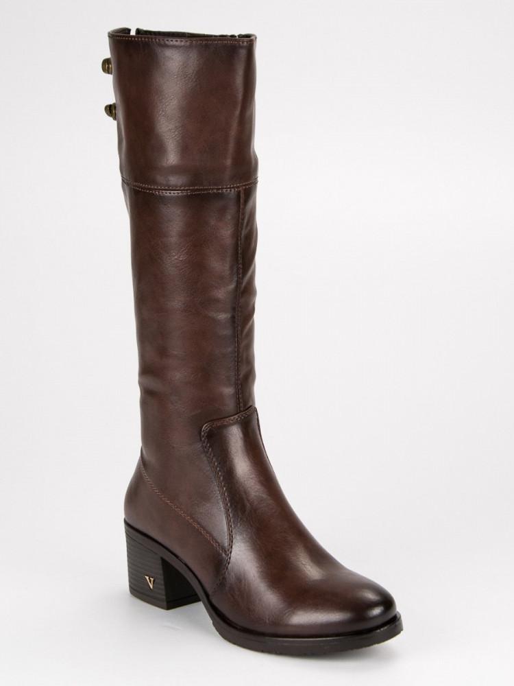 Luxusné hnedé lesklé čižmy na stĺpiku - Dámske vysoké čižmy - Locca.sk f0e6af09959
