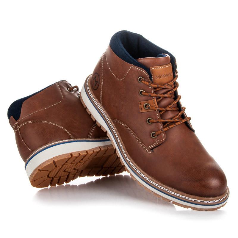 dc8bd5c09237 Luxusné hnedé pánske členkové topánky - Pánska zimná obuv - Locca.sk
