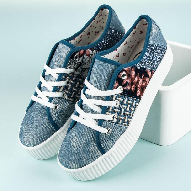 b8ecfea69f62 Luxusné modré tenisky na platforme - Dámske tenisky na platforme ...