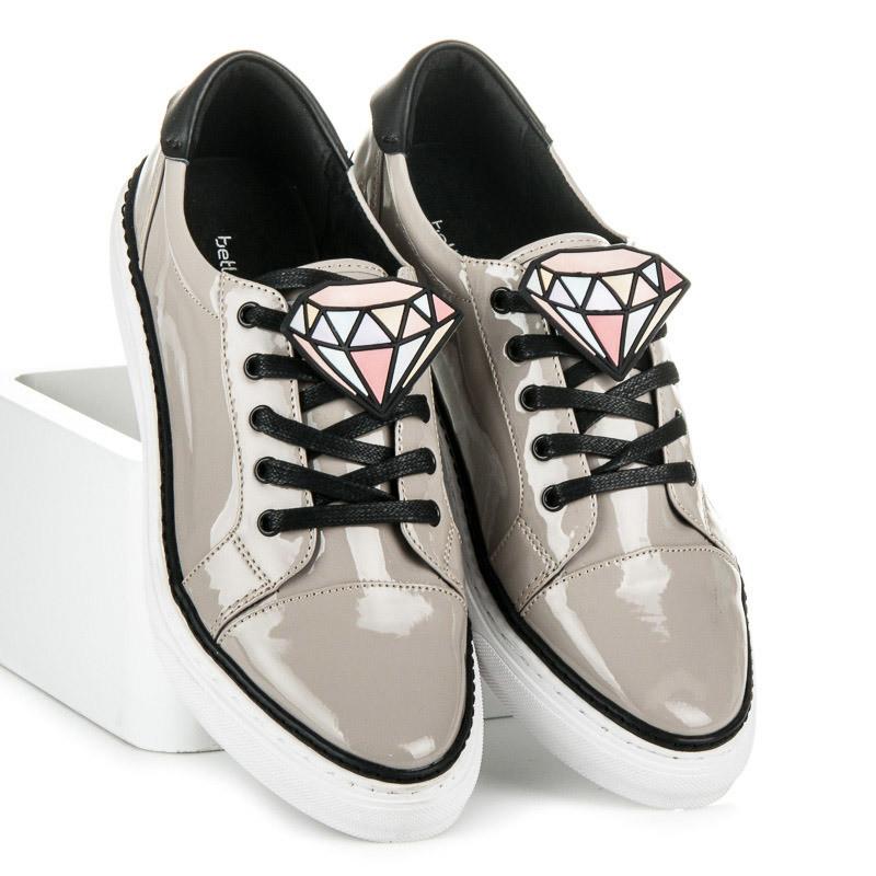 Luxusné šedé lakované tenisky so zdobením v tvare diamantu - Dámske ... 01c0b37648d