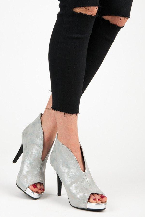 52430904d Luxusné strieborné sandále s otvorenou špičkou - Dámske topánky ...