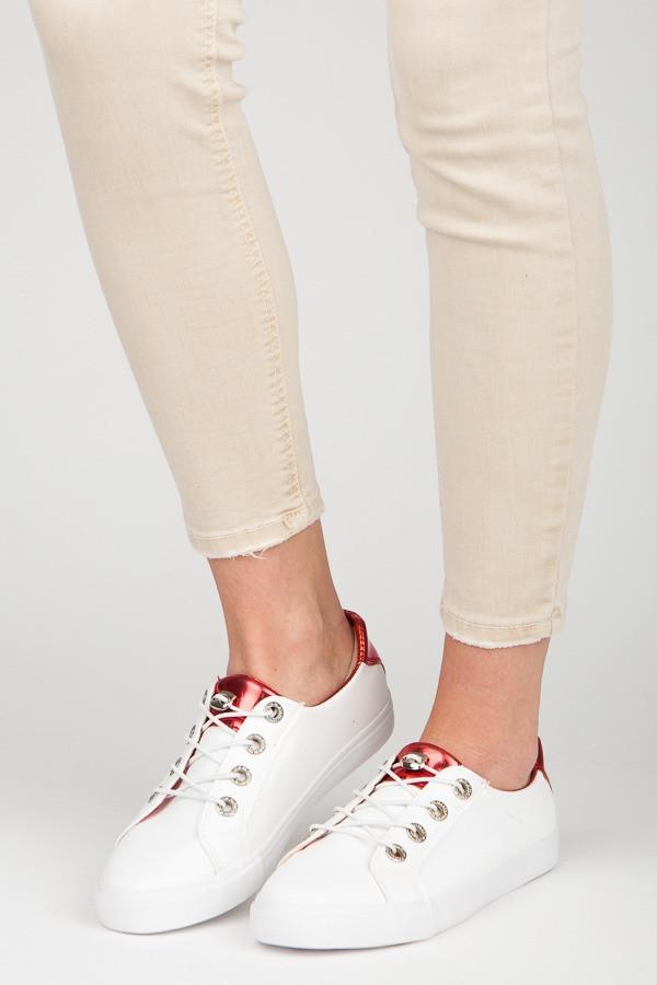 Luxusné tenisky biele dámske bez podpätku - Dámske členkové tenisky ... 66250e711ba