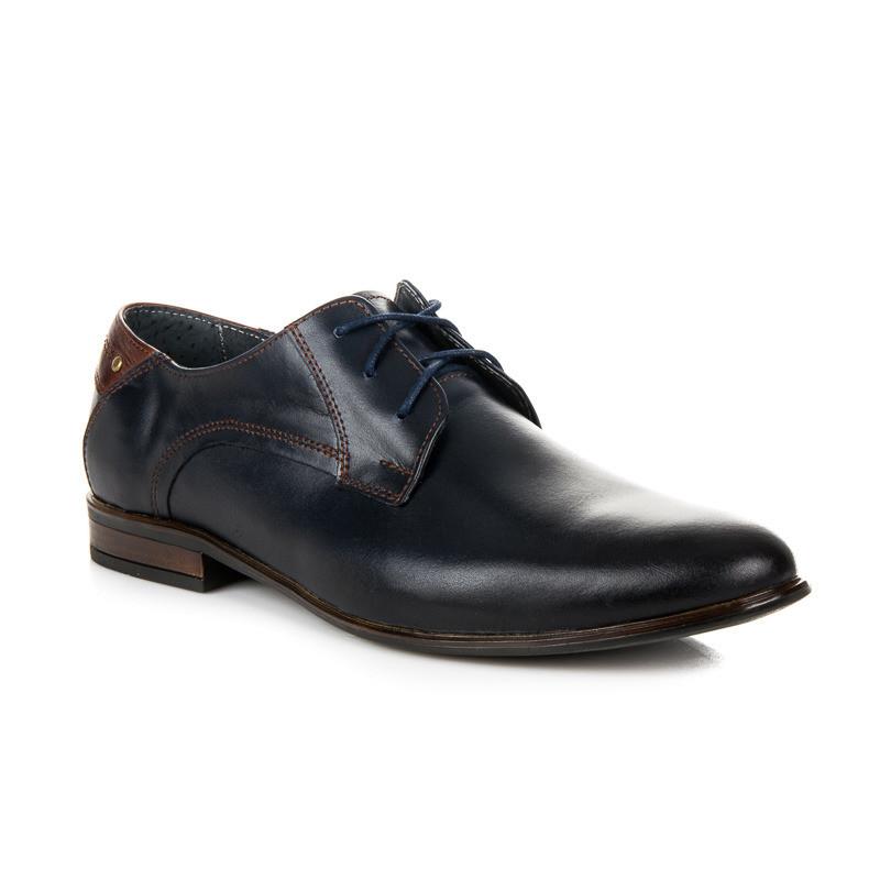 bda97d5a2069 Moderné modré pánske kožené poltopánky - Pánska elegantná obuv ...