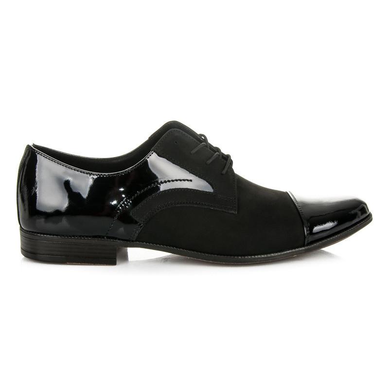 Moderné pánske čierne lakované poltopánky - Pánska elegantná obuv ... 9e9aabbb1f4
