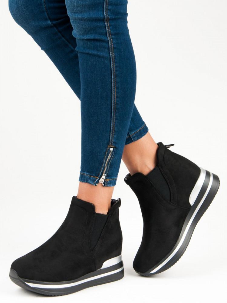 c281d39188 Moderné športové čierne topánky na platforme - Dámske topánky - Locca.sk