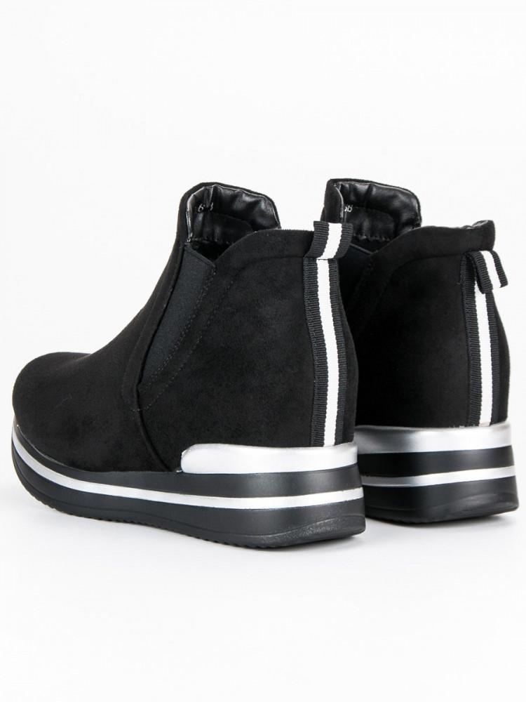 93ce0ad6fb Moderné športové čierne topánky na platforme - Dámske topánky - Locca.sk