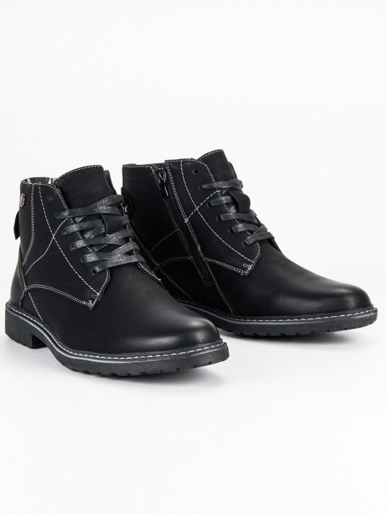 47bf6dff36b6 Módne čierne pánske členkové topánky - Pánska zimná obuv - Locca.sk