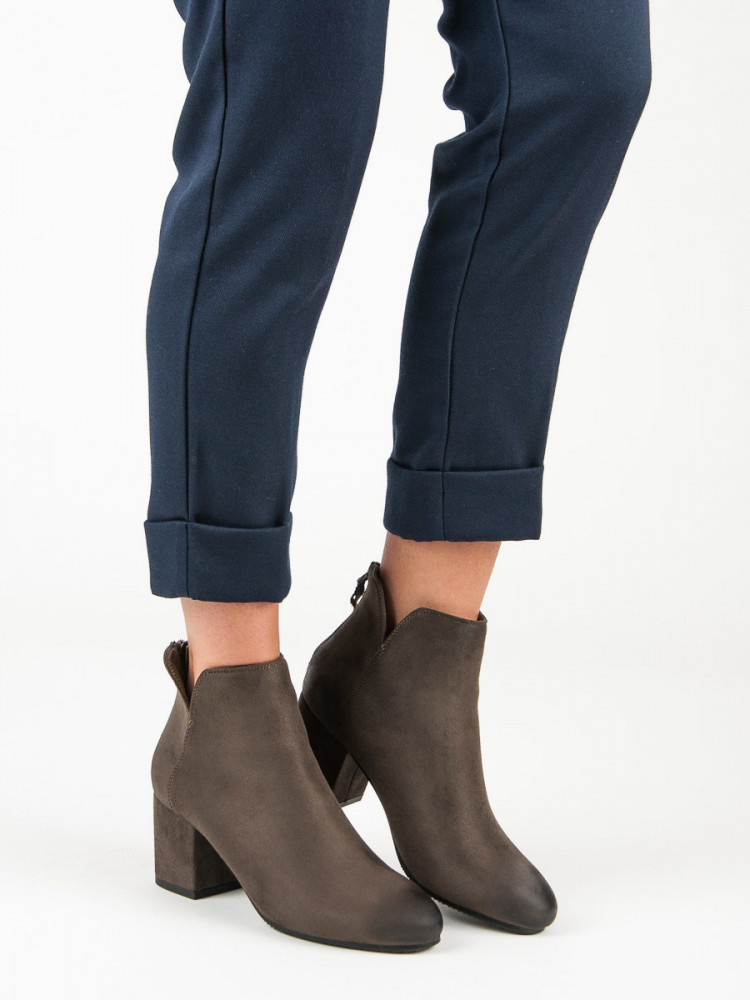 c1dc1953b5 Módne Členkové topánky dámske zelené na širokom podpätku - Dámske ...