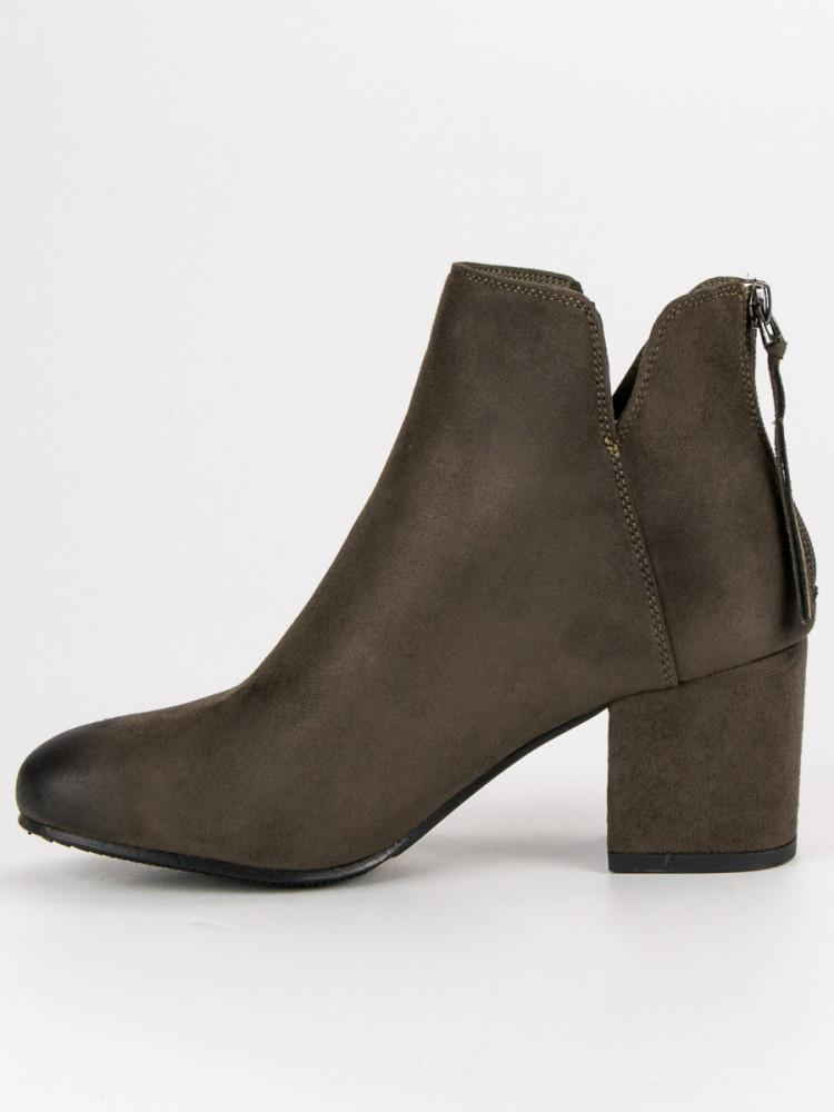 aa99ecebff89 Módne Členkové topánky dámske zelené na širokom podpätku - Dámske ...