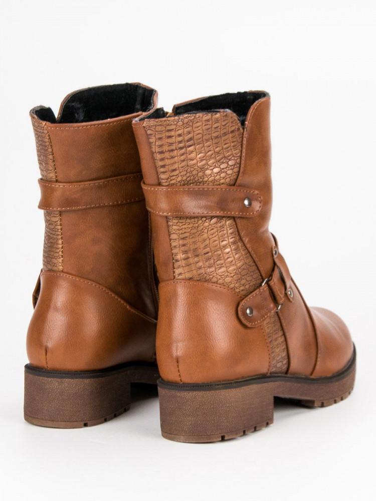 c81297e05e387 Módne Členkové topánky hnedé dámske na plochom podpätku - Dámske ...
