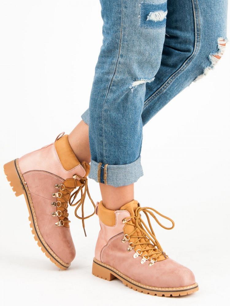 Módne ružové farmery so šnurovaním - Dámske topánky - Locca.sk a6d5ec5a4b