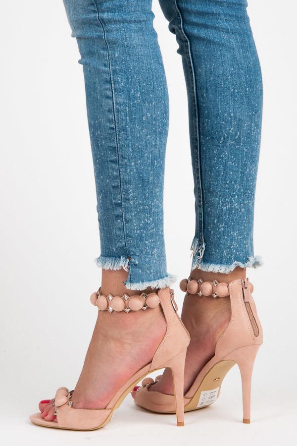 f4bddc089e273 Módne ružové sandále s ozdobným pásikom okolo členku - Dámske ...