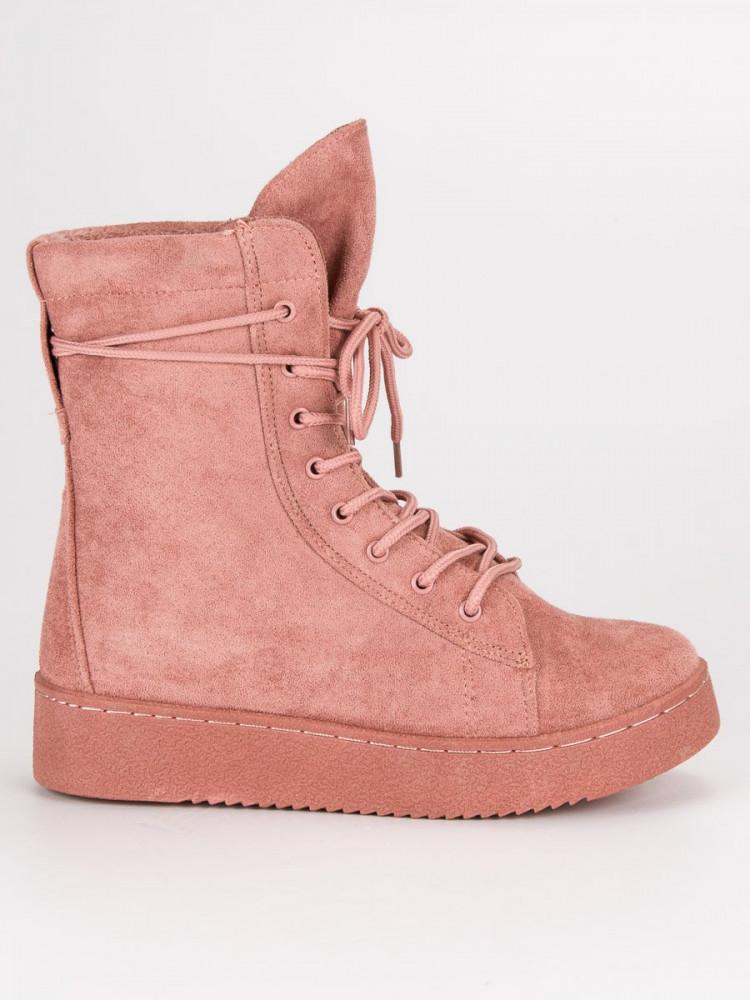5dcdba0507 Módne ružové topánky na platforme so šnurovaním - Dámske topánky ...
