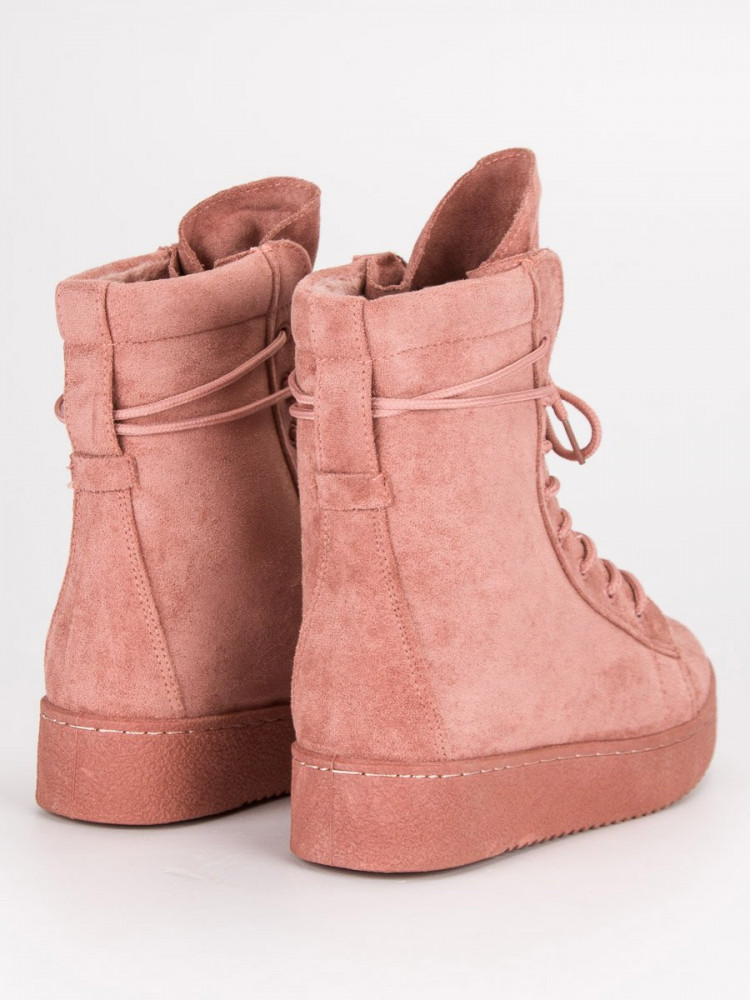 Módne ružové topánky na platforme so šnurovaním - Dámske topánky ... 8c527f56be