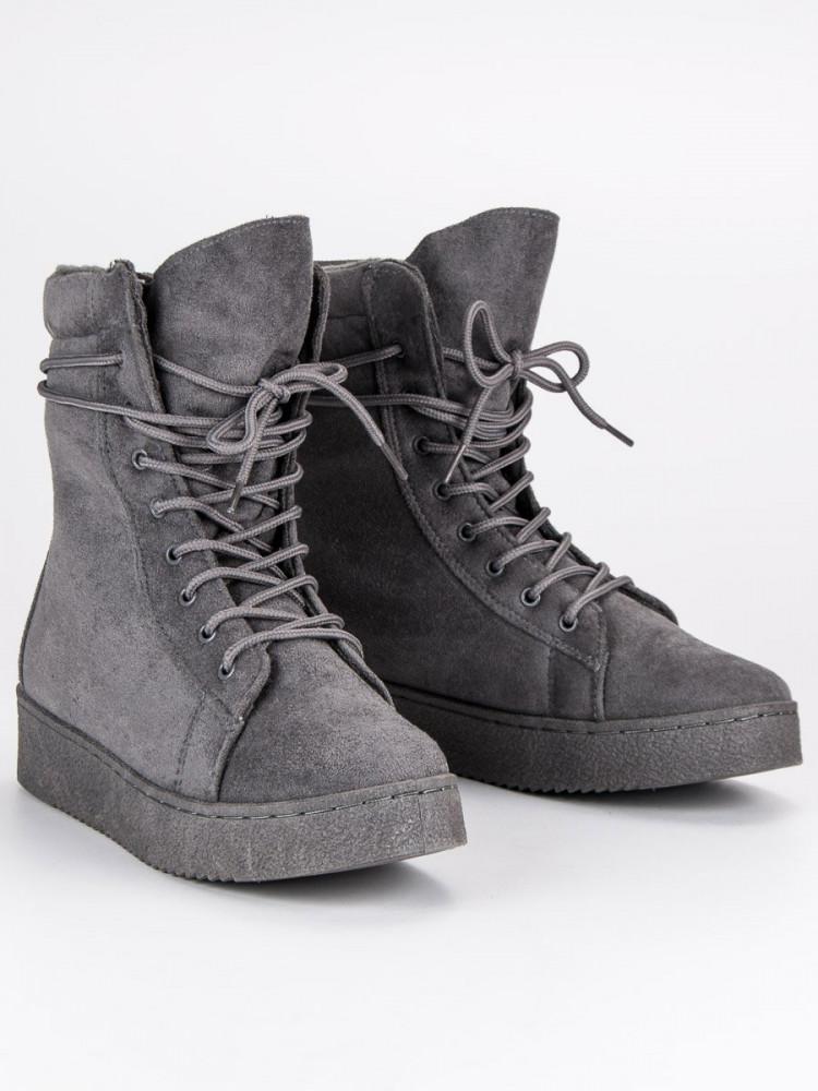 297a195841f7 Módne šedé topánky na platforme so šnurovaním - Dámske topánky ...