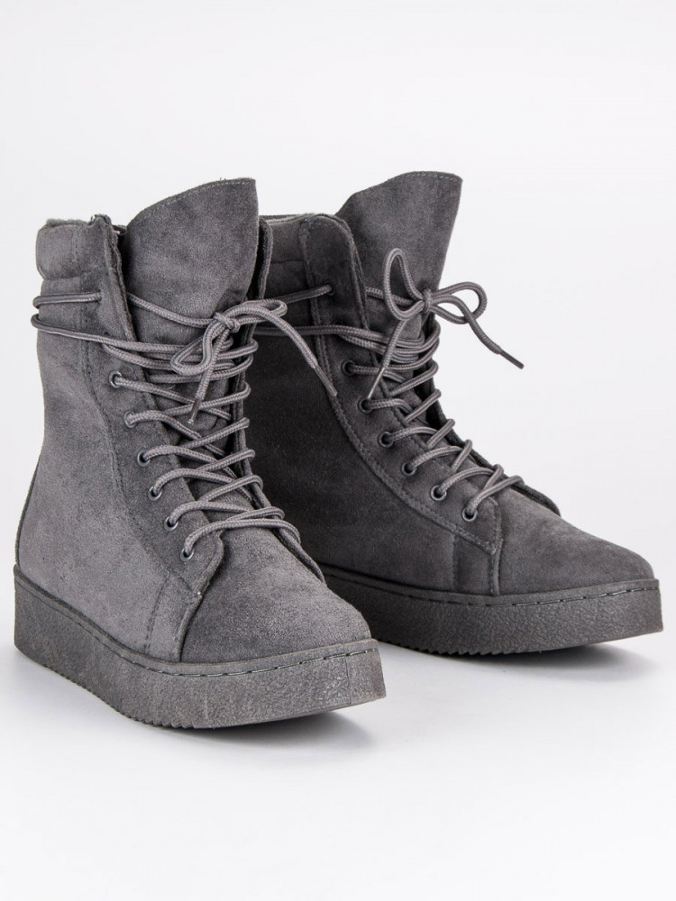 c631ef2d1c32 Módne šedé topánky na platforme so šnurovaním - Dámske topánky ...