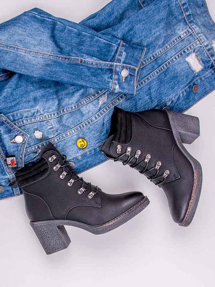 Módne šnurovacie čierne členkové topánky na podpätku - Dámske ... 0a51775903b