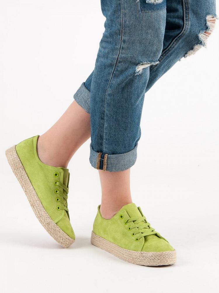 Módne zelené  tenisky dámske bez podpätku