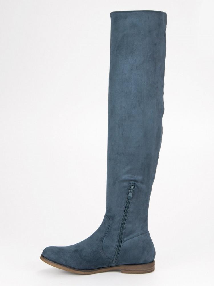 6e31e758ca Modré semišové čižmy na plochom podpätku - Dámske čižmy nad kolená ...