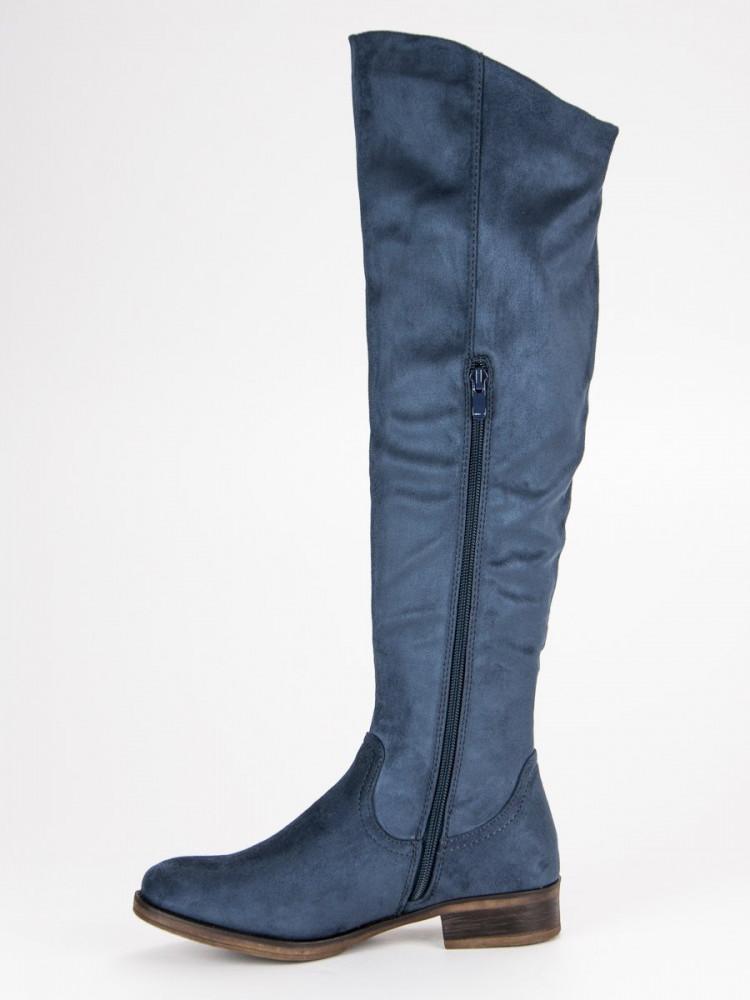 66a7c631f8 Modré semišové čižmy na plochom podpätku - Dámske vysoké čižmy ...
