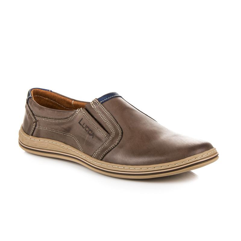 Nazúvacie hnedé kožené pánske poltopánky - Pánska elegantná obuv ... af425dddef8