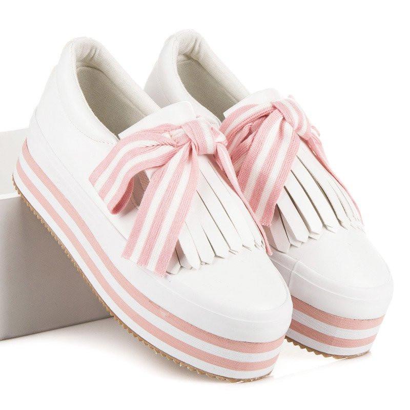 cdb5a8cb3c173 Netradičné ružovo-biele tenisky na vysokej podrážke - Dámske tenisky ...