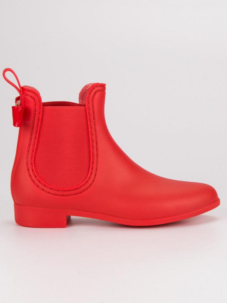 Nízke červené čižmy s bočnými pružnými vsadkami - Dámske gumáky ... 1de7a718c16