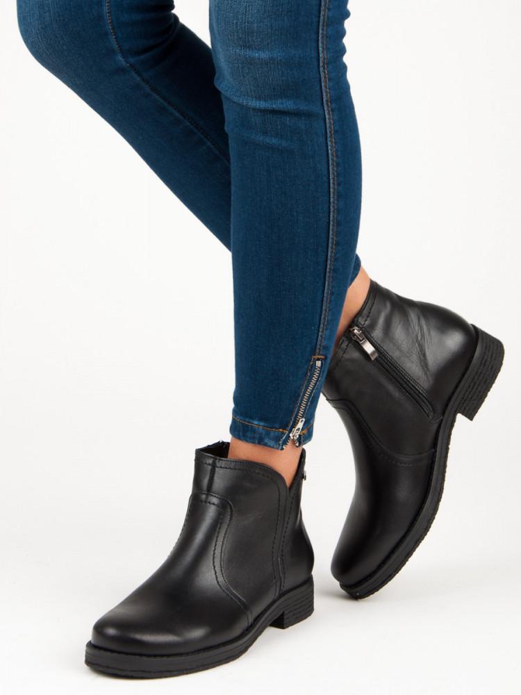 8803ba995fe45 Nízke čierne kožené členkové topánky - Dámske topánky - Locca.sk