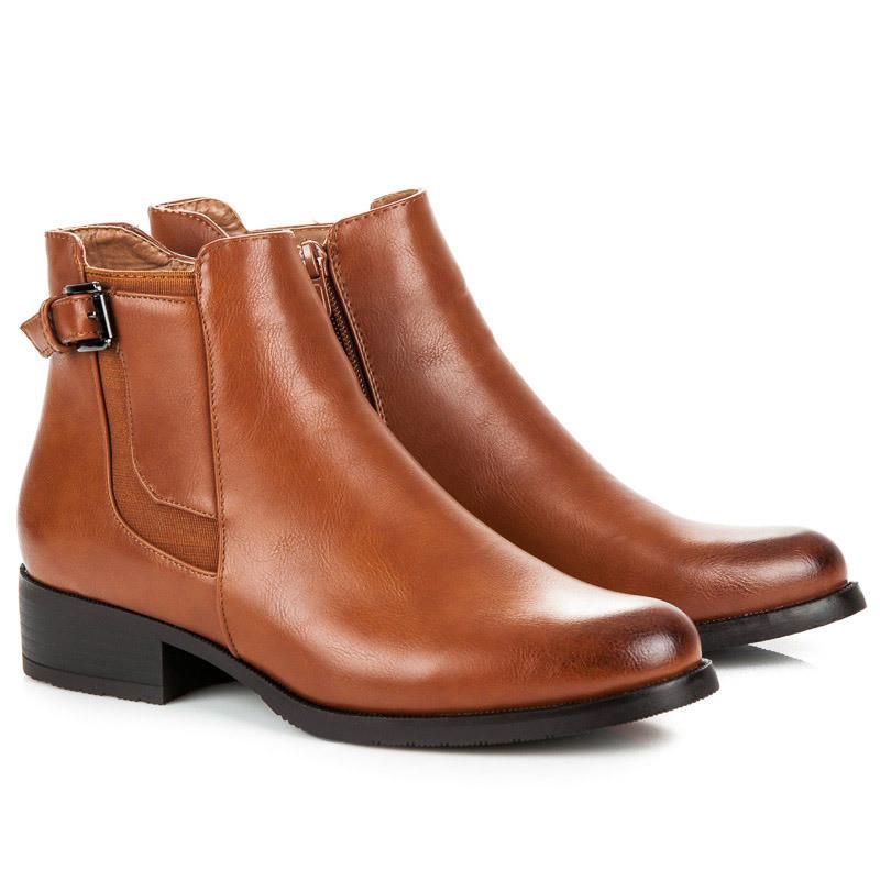 Nízke hnedé členkové topánky na zips - Dámske topánky - Locca.sk 0b22955ee7f