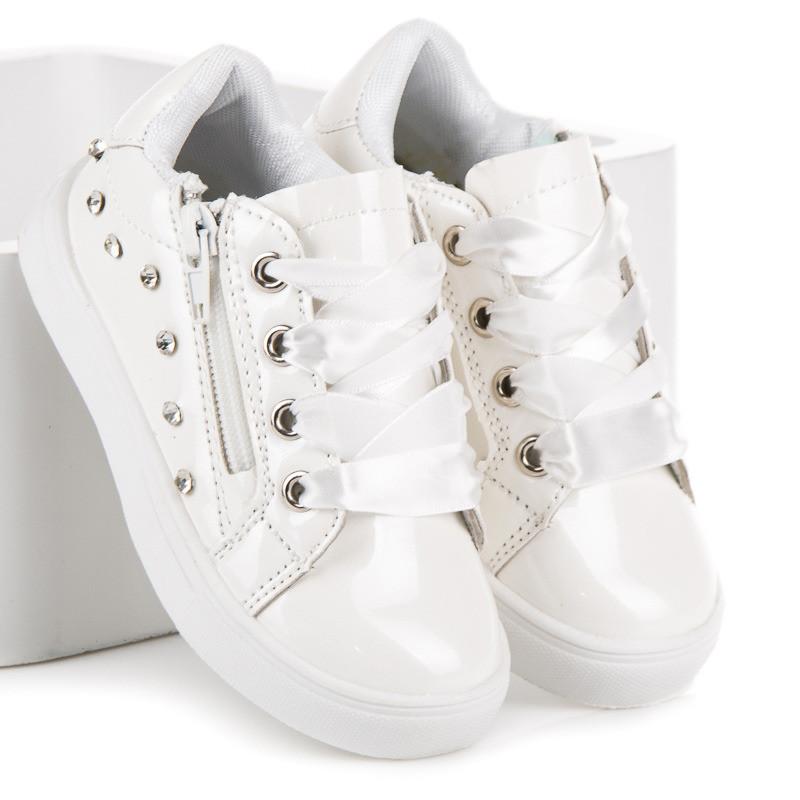 d8315ca3bb Originálne biele dievčenské tenisky viazané stužkou - Detské tenisky ...