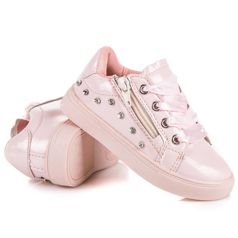 f155d3cdfaf46 Originálne ružové dievčenské tenisky viazané stužkou - Detské ...