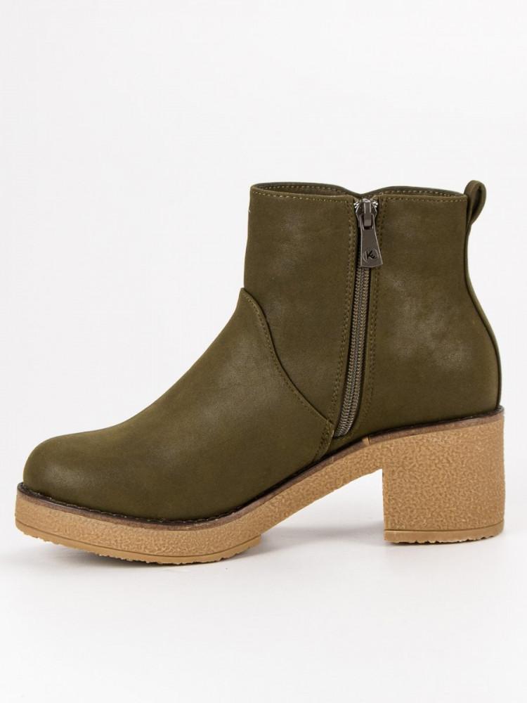 e4f6dceb9f Originálne zelené dámske Členkové topánky na širokom podpätku ...