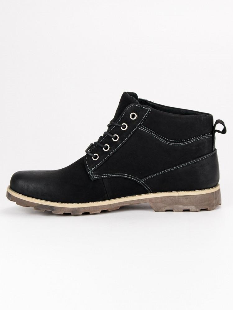 2b9534faefa1 Pánske čierne kožené členkové topánky - Pánska zimná obuv - Locca.sk