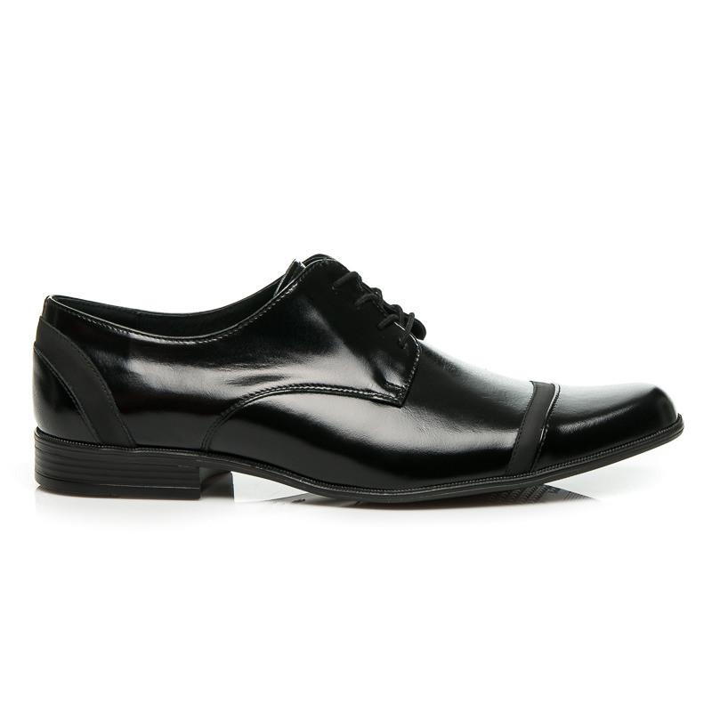Pánske čierne kožené topánky s klasickým viazaním na šnúrky - Pánska ... 069eaaaa576