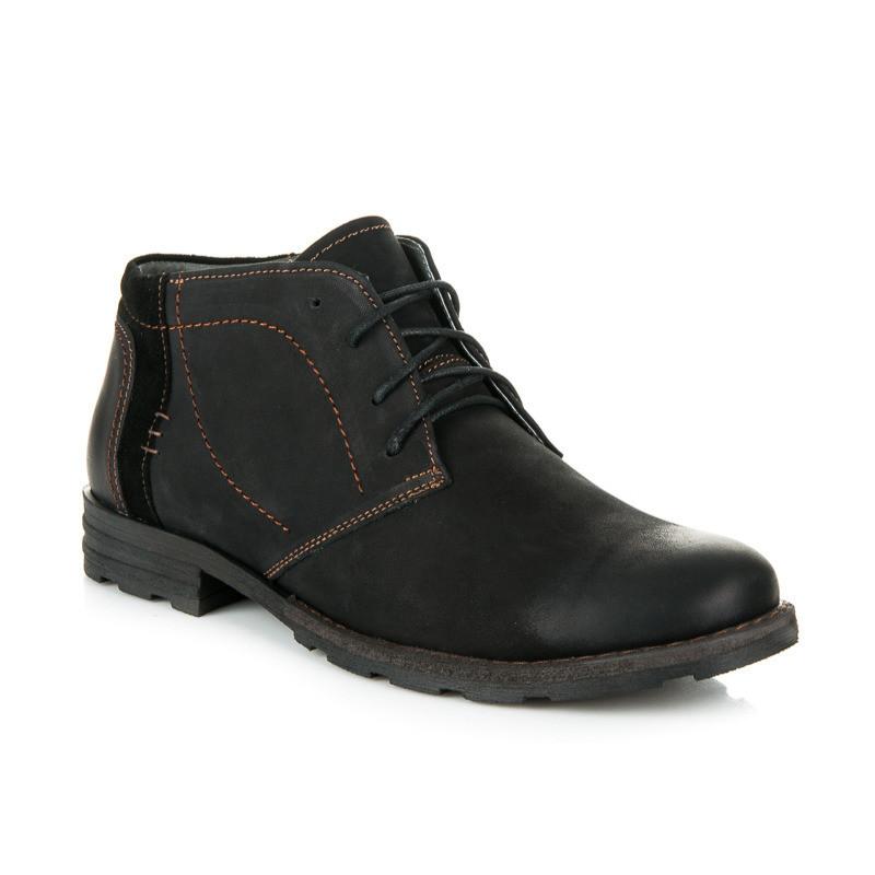 Pánske čierne kožené zateplené členkové topánky - Pánska zimná obuv ... 9b9bd577877
