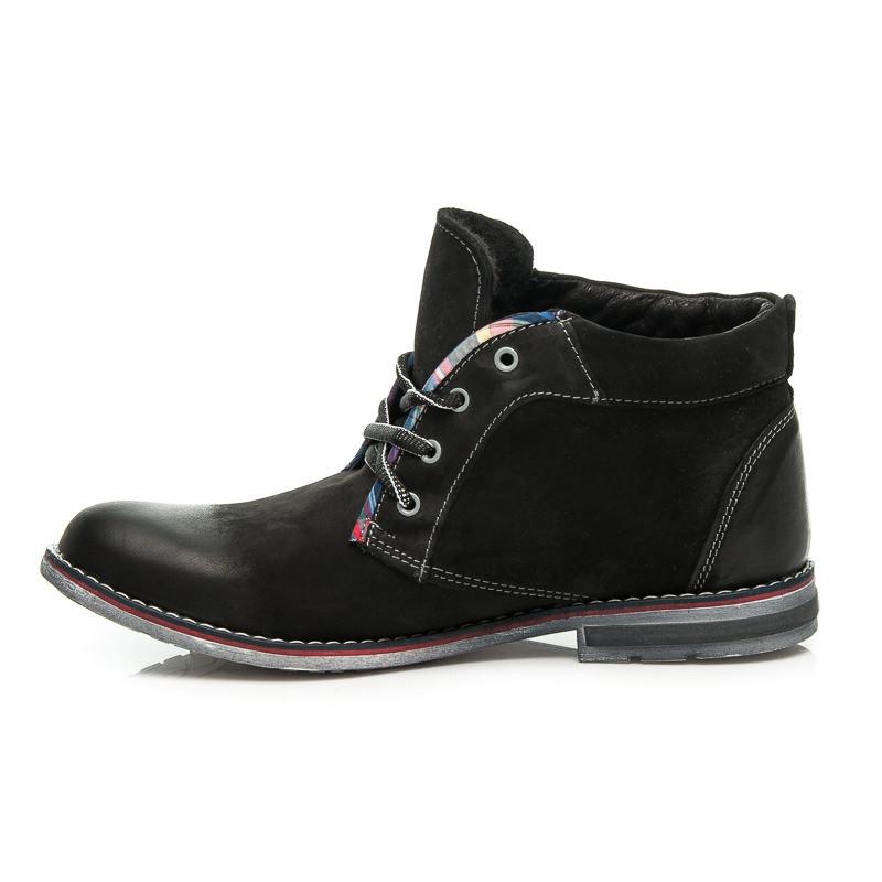 7bc8afaa1 Pánske čierne zimné členkové topánky so šnurovaním - Pánska zimná ...