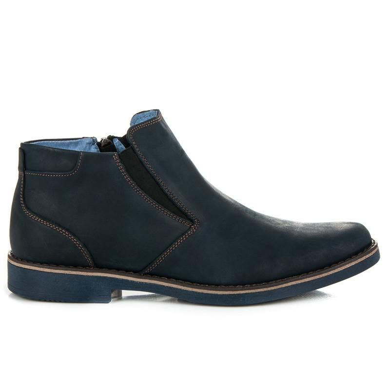 3f2990b1ac Pánske modré kožené členkové topánky so zipsom - Pánska zimná obuv ...