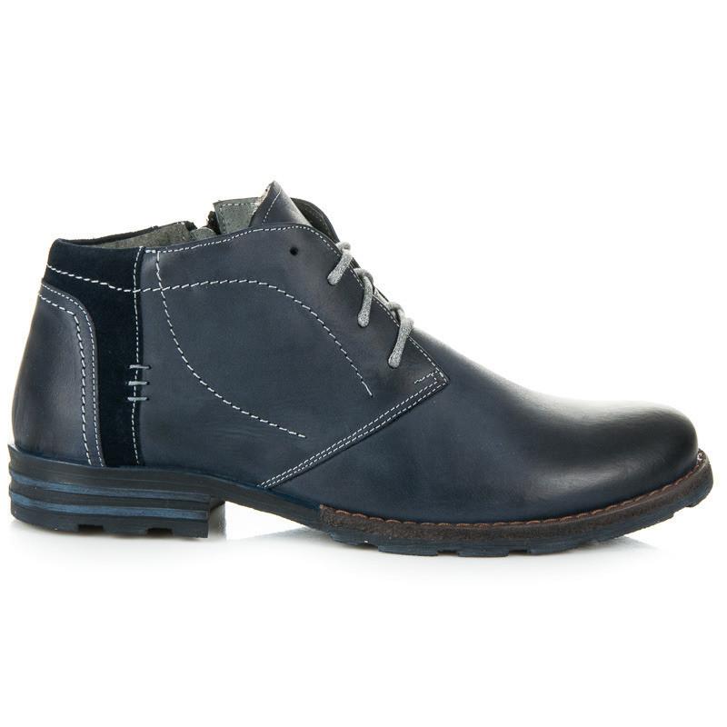 d700911d4f Pánske modré kožené zateplené členkové topánky - Pánska zimná obuv ...