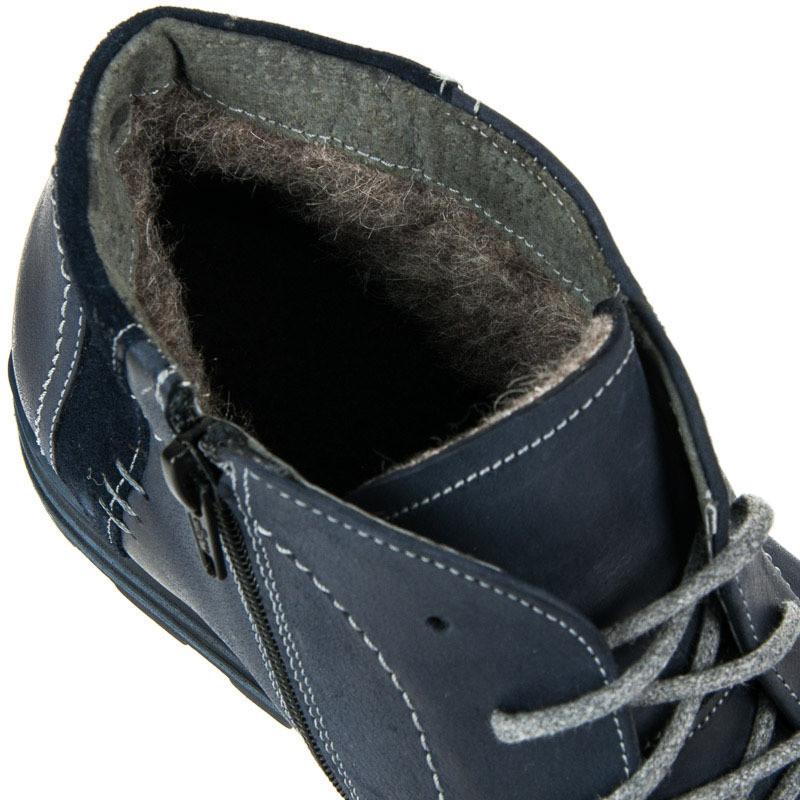 638c696b5a990 Pánske modré kožené zateplené členkové topánky - Pánska zimná obuv ...