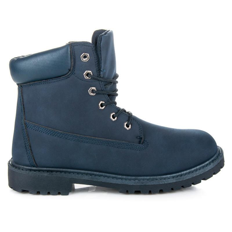 5523a770b6c8b Pánske modré pohodlné farmery s kožušinkou - Pánska zimná obuv ...