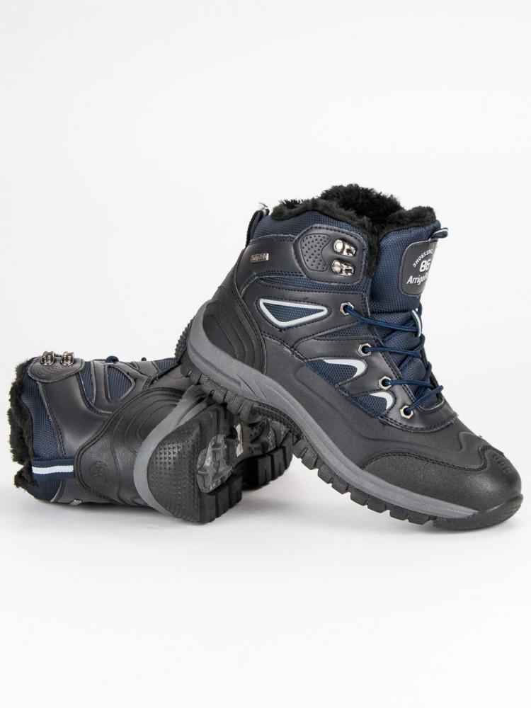 b3b15d465d Pánske modré zimné členkové topánky so šnurovaním - Pánska zimná ...