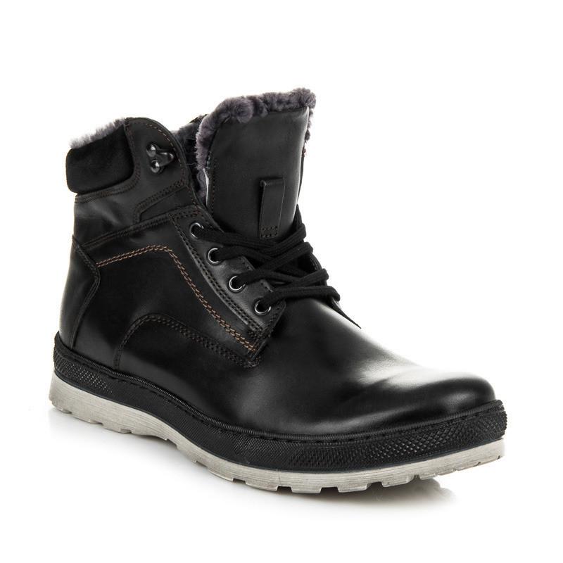 Pánska zimná obuv · Pánske zateplené čierne kožené členkové topánky · Pánske  zateplené čierne kožené členkové topánky  1 e8964cdf2a9