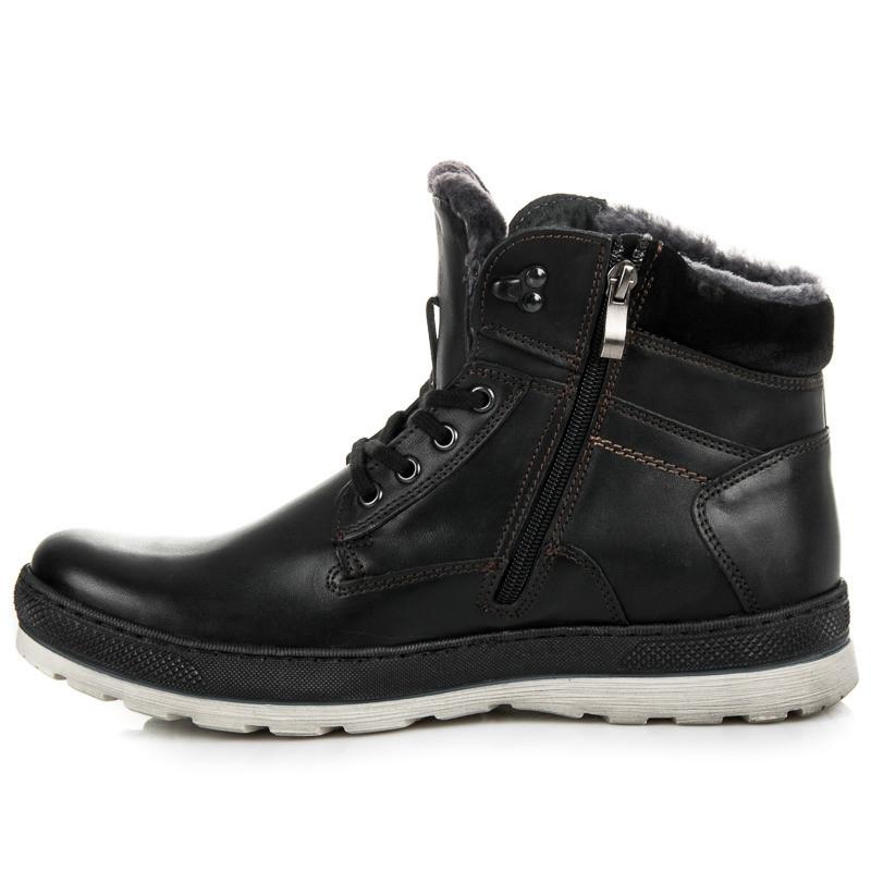 Pánske zateplené čierne kožené členkové topánky - Pánska zimná obuv ... 6896fde86fd