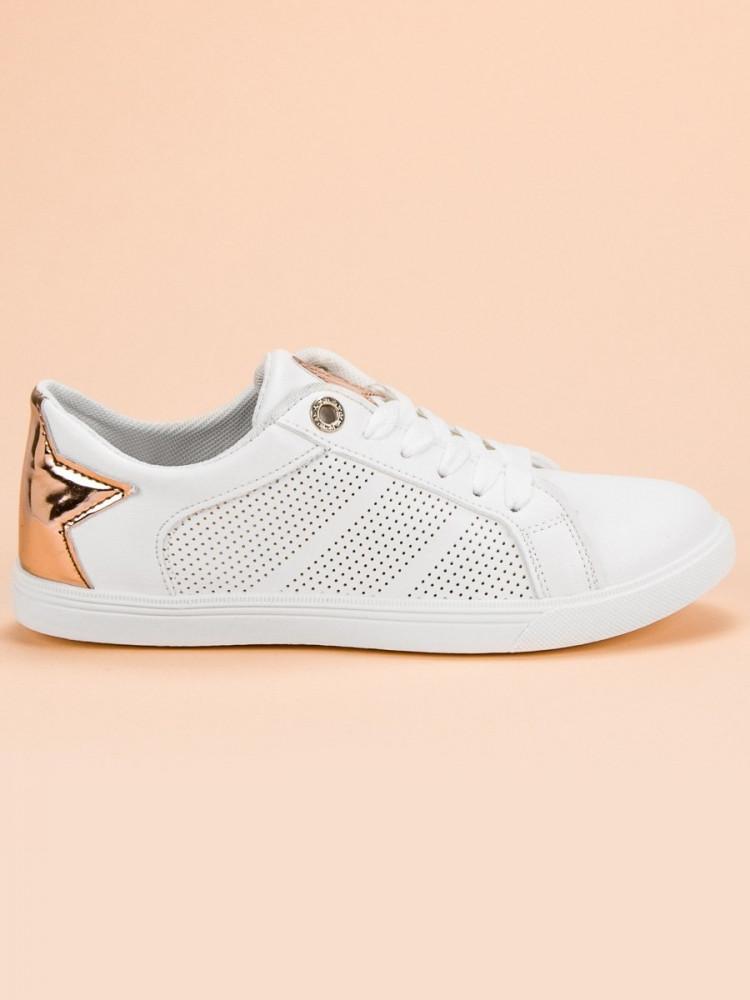 Pekné biele dámske tenisky bez podpätku - Dámske členkové tenisky ... 2235a487557