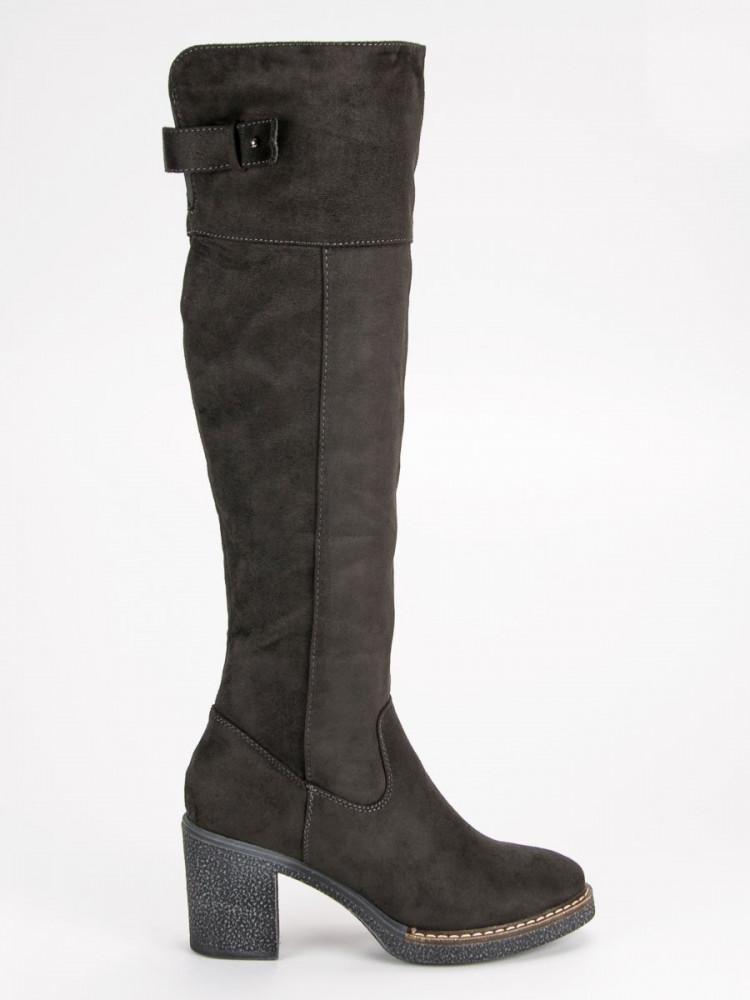 Perfektné šedé čižmy s hrejivým kožúškom - Dámske čižmy nad kolená ... 85ce2bd68d4